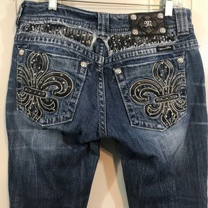 Miss Me Straight Sequined Distressed Jeans 6